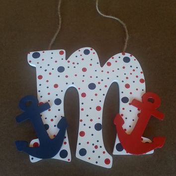 beach decor painted wooden letter initial hand painted letter anchor decor