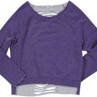 Butterflies and Zebras Slashed L/S Top - Lavender-Medium
