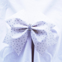 Cheer bow- White with sliver glitter dots-Cheerleading bow-Cheerleader bow-Dance bow-Softball bow-Cheerbow- made for me cheer bows