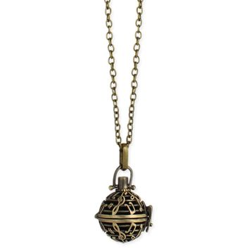 Burnished Gold Music Notes Diffuser Long Necklace