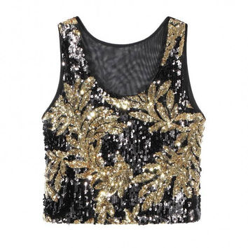 Black-Gold Crop Vest Top With Sequins