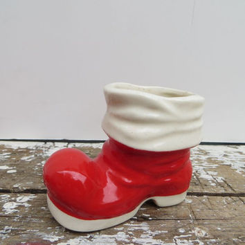 Porcelain Santa Boot Planter Candy Container Vintage Christmas Holiday Decor