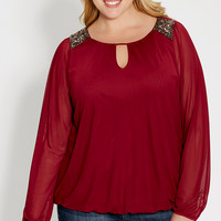 plus size mesh blouse with embellished shoulders