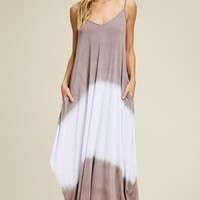 Boho Vibes Tie Dye Maxi Dress - Taupe