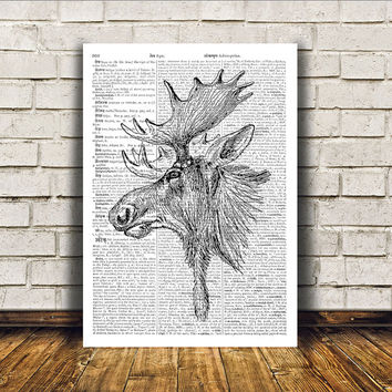 Elk poster Animal art Dictionary print Wall decor RTA100