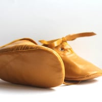 18 - 24 Months Slippers / Baby Shoes Lamb Leather Mustard Yellow