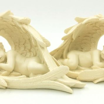 Babies Sleeping in the Protection of Angel Wings Figurines 2 Piece Set 5.5W
