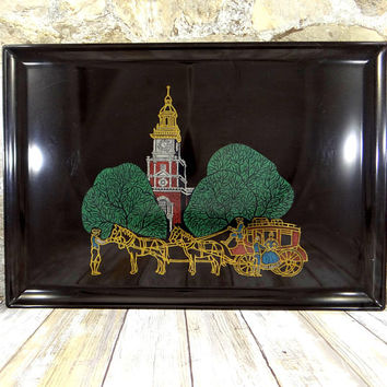 Vintage Couroc Tray of Independence Hall in Philadelphia