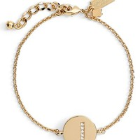 Women's kate spade new york 'north court' pave initial charm bracelet - Gold-