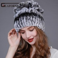 2017 Hot Sale Knitted Rex Rabbit Fur Hats with Fur Flower Fox Fur on Top Fur Beanies Elastic Fur Cap for Russain Winter 5 Colors