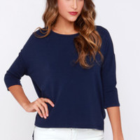 Sugar for Your Tee Navy Blue High-Low Top