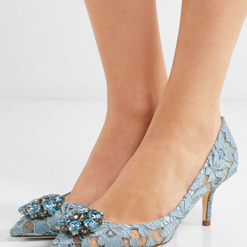Dolce & Gabbana - Crystal-embellished lace pumps