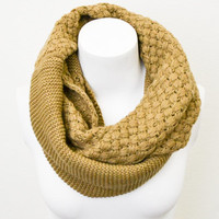 Mocha Cable Knit Infinity Basket Weave Double Loop Scarf BOHO Cozy Full Simple and Chic An Absolute Must for Fall