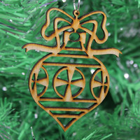 Intricate Design Christmas Ornament Plywood Laser Cut and Engraved