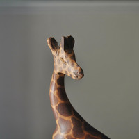 Giraffe Wooden animal/ African art/ Wooden giraffe sculpture/Deck decor/ Gift for him/ rusteam