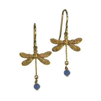 Dragonfly Earrings in Vintage Natural Brass with 4mm Denim Lapis Stones