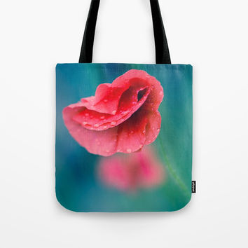 red poppy with drops Tote Bag by Oksana