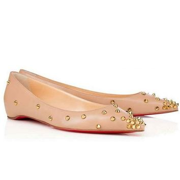 Christian Louboutin Fashion Edgy Rivets Pointed Flats Shoes-3