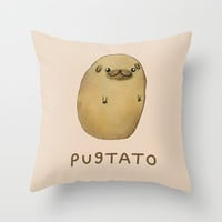 Pugtato Throw Pillow by Sophie Corrigan
