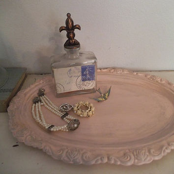 Vintage Shabby Chic Pink Tray w ornate rose and swirl metal work ~French  Cottage