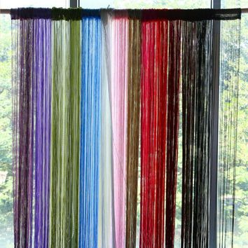 2m*1m 12 Colors String Curtains Door Window Panel Curtain Divider Yarn String Curtain Strip Tassel Drape Decor for Living Room