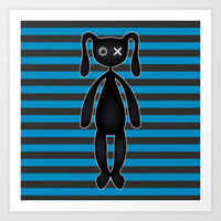 Goth  Turquoise and Black Bunny Art Print by Hippy Gift Shop