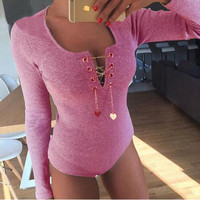 V Neck Long Sleeve Metal Chain Bodysuit