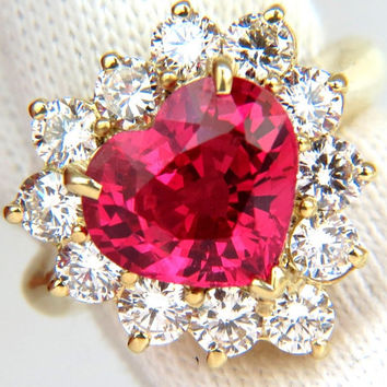 5.92CT No Heat Vivid Hot Pink Spinel Diamond Ring 18KT Unheated