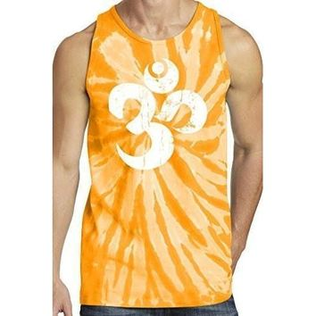 Yoga Clothing for You Mens White Distressed Om Tie Dye Tank Top
