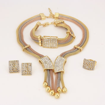 11.11 Women Italy Dubai Three Tone Necklace Earrings Gold Plated Jewelry Sets Wedding Party Bridal Accessories Costume jewelry