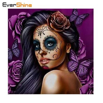 "Skull Skulls Halloween Fall EverShine 5D DIY Diamond Painting "" Woman"" Embroidery Cross Stitch Rhinestone Canvas For Painting Mosaic Full Decor Gift Calavera"