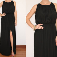Long Black Dress Maxi Dress Slit dress  for Women