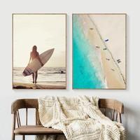 Landscape Girl Surfboard Beach Nordic Posters And Prints Wall Art Canvas Painting Wall Pictures For Living Room Bedroom Decor