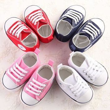 Canvas Newborn Baby Boy Girl Shoes Brand Soft Soles Non-slip Star Lace-Up First Walker