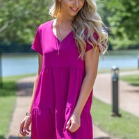 Deep V-Neck Tiered Boxy Dress
