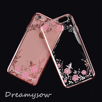 Fashion Luxury Secret Garden Flowers Rhinestone Cell Phone Case Women Phone cover Case For iphone 8 7 6 6S Plus 4 4s 5 5S SE