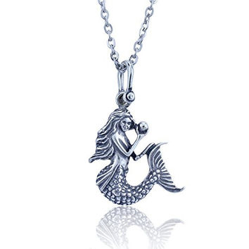 Mermaid Pendant Crafted in Sterling Silver Pendant on an 18 Inch Necklace Chain