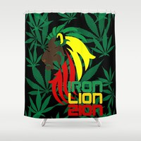 Reggae, Rastafarian - Iron, Lion, Zion, ganja, weed, pot, smoke background, legalize maryjane, music Shower Curtain by Peter Reiss