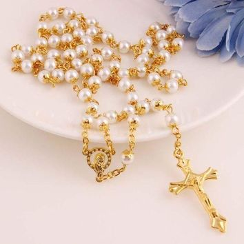 DCK4S2 New Arrival Stylish Shiny Jewelry Gift Pearls Fashion Accessory Cross Rack Necklace [47756115980]
