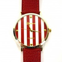 Red and White Striped Watch