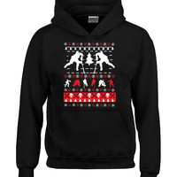 Ice Hockey Christmas Ugly Sweater - Hoodie