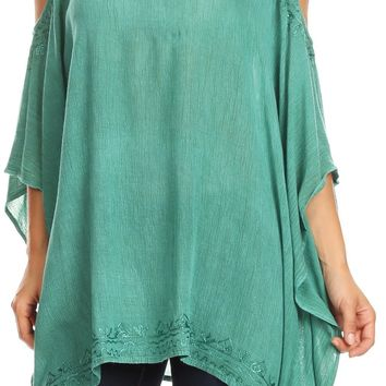 Sakkas Ada Womens Stonewashed Cold Shoulder Embroidered Casual Top Blouse Loose
