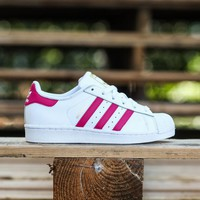 Adidas Big Kids Superstar Foundation white pink buzz running white