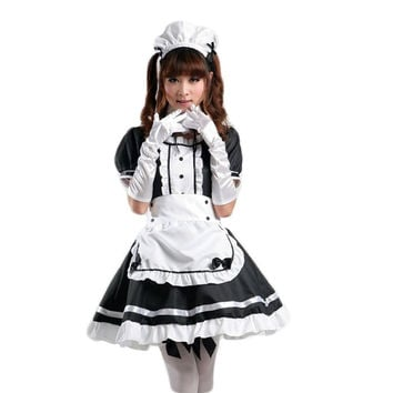Women's Anime Cosplay French Apron Maid Fancy Dress Costume with real shows