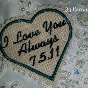 Rustic Necktie Patch.Embroidered Tie Patches.Tie Patches for Father of Bride/Groom/Grandfather Personalized Love Notes