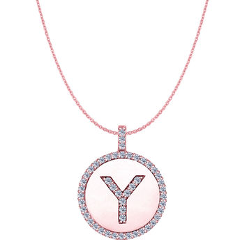 """Y"" Diamond Initial 14K Rose Gold Disk Pendant (0.50ct)"