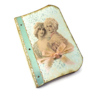 Paris Journal, Marie Antoinette, Handmade Art Journal, Vintage Paris, Travel Journal, Shabby Chic Journal, Mint and Dusty Pink, French