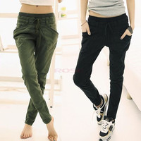 Women Sport Stretch Little Feet Harem Casual Pant Slack Sweatpant Trouser Lacing Jeans clothes 17576 [8424264775]