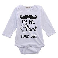 Newborn Baby Clothing Long Sleeve Cotton mustache baby Rompers Girls Boys Clothes Outfits 0-24M