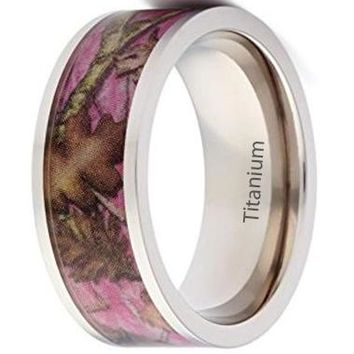 CERTIFIED 8mm Wedding Rings Pink Camo Promise Rings for Women - Flat Titanium